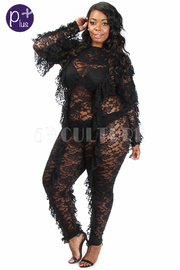 Plus Size See Through All Over Lacey Ruffle Jumpsuit