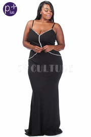Plus Size V-neck Rhinestone Trim Maxi Cocktail Gown