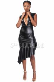 Sexy Faux Leather Mermaid Asymmetric Dress
