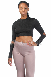 Marled Cropped Cut Elbow Top