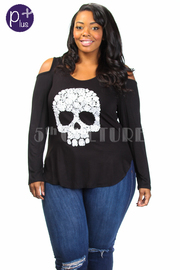 Plus Size Cold Shoulder Skull Print Top