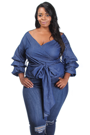 Plus Size Ruffle Sleeved Denim Tie Top