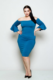 Plus Size Off Shoulder Solid Flared Sleeved  Midi Dress