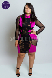 Plus Size Sexy Panel Burn Out Dress