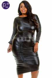 Plus Size Faux Leather Ruched Asymmetric Bodycon Dress