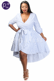 Plus Size Surplice Striped Hi-Lo Skater Dress