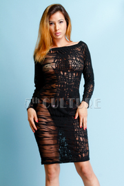 See Through Web Detailed Sexy Bodycon Dress