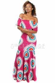 Peacock Tango Off Shoulder Maxi Dress