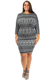 Plus Size Glittery Pattern Aztec Mini Dress