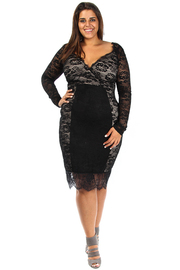 Plus Size Long Sleeved Laced Gothic Fit Dress