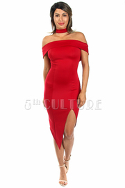 Folded Choker Midi Slit Dress