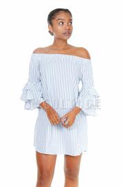 Off Shoulder Chambray Striped Shift Dress