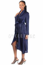 Silky Tie Waist Wrap Robe Dress