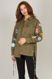 Military Patches Style Jacket with String Detail On Side