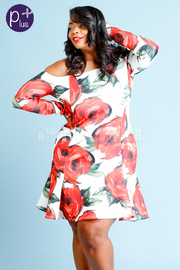 Plus Size Off Shoulder Roses Flared Dress