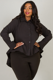Plus Size Button Down Collar Hi-Lo Shirt