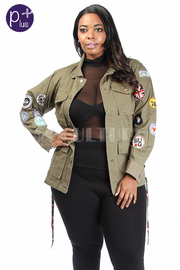 Plus Size Patch Up Military Pockets Jacket