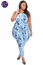 Plus Size Draped Printed Fit Jumpsuit