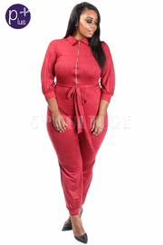 Plus Size Zip Down Suede Collar Tie Waist Jumpsuit