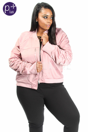 Plus Size Casual Chic Zip Down Bomber Jacket