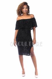 Off Shoulder Zebra Velvet Slit Midi Dress
