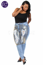 Plus Size Distressed Sequin 5-Pocket Jeans