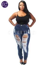 Plus Size Destroyed Casual Denim Skinny Jeans