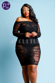 Plus Size Off Shoulder Abstract Mesh Tube Dress