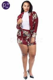 Plus Size Floral 2-Piece Mini Shorts Blazer Set