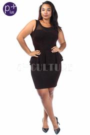 Plus Size Solid Sweetheart Mesh Trim Peplum Dress