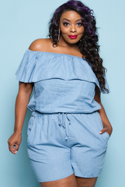 Plus Size Off Shoulder Flounce Chambray Ruffle Romper