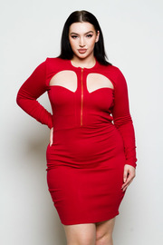 Plus Size Cutout Sexy Zip Down Bodycon Dress