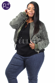 Plus Size Solid Bomber Zipper Down Winter Jacket