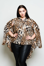 Plus Size Wild Leopard Button Down Cape Top