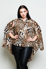 Plus Size Wild Leopard Button Down Cape Top