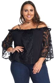 Plus Size Design Mesh Insert Off Shoulder 3/4 Sleeved Blouse