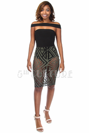 Off The Shoulder Solid Cutout & Mesh See Through Geo Mini Dress