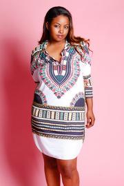 Plus Size Dashiki Collar Mini Tube Dress