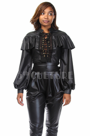 Ruffle Tie Up Bomber Long Sleeved Faux Leather Top