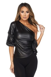One Shoulder Faux Leather Cropped Top