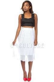 Casual Pleated Knee Length Skirt