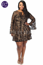 Plus Size Metallic Gothic All Over Laced Skater Dress