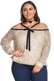 Plus Size Laced Off Shoulder Gothic Tie Neckline Blouse
