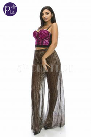 Plus Size Shimmer See Through Sheer Palazzo Pants