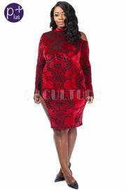Plus Size Cold Shoulder Baroque Velvet Slit Side Dress
