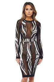 Sequin Abstract Mesh Midi Dress