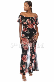 Off Shoulder Roses Mesh Ruffle Maxi Dress