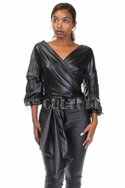 Sexy Faux Leather Tie Waist Top