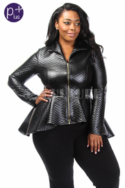 Plus Size Rocker Checker Stitch Peplum Zip Down Jacket