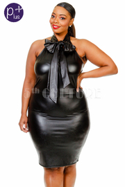 Plus Size Sexy Tie Faux Leather Halter Club Dress